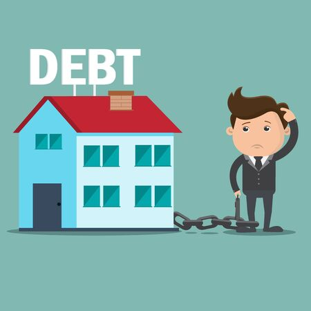 borrowing: Business man with debt home , Debt concept  - vector illustration