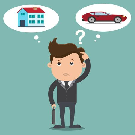 choosing: Business man choosing between a car with home  - vector illustration