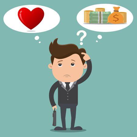 choosing: Business man choosing between a money with love - vector illustration
