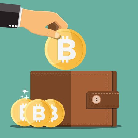 Business hands putting bitcoin into wallet - Vector illustration.