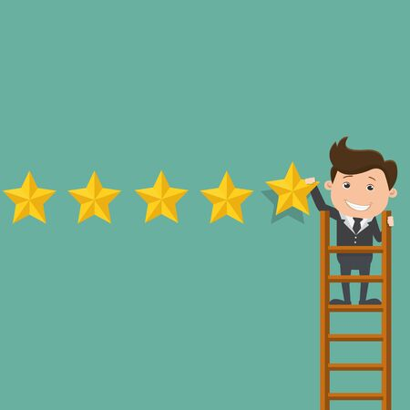 Business man giving five star rating - Vector illustration. Stock Illustratie