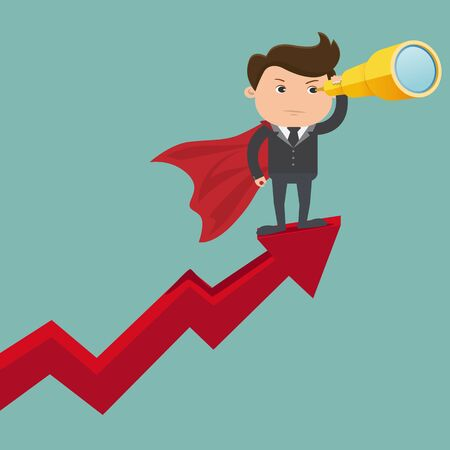 Businessman stand on arrow graph using telescope looking for success - vector illustration