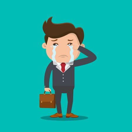 Business man crying vector - Vector illustration. Stock Illustratie