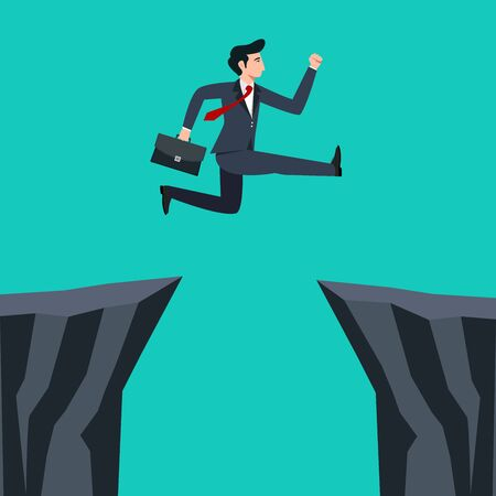 Businessman jumping through mountain cliff to success.Business start up concept.Vector illustration.  Ilustração