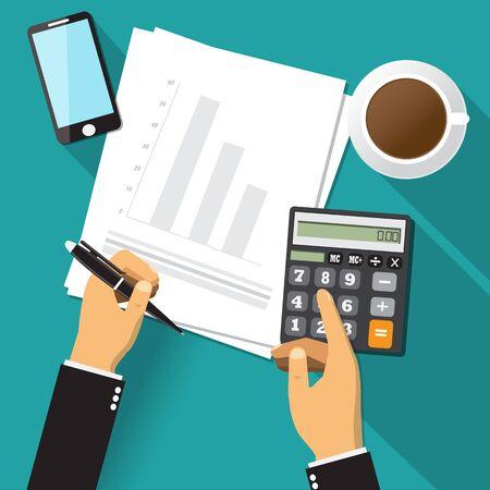 Asesor de negocios auditoría financiera, hoja de papel, manos, café, teléfono inteligente, calcular vector.