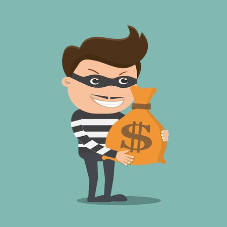 thief holding money bag - vector illustration
