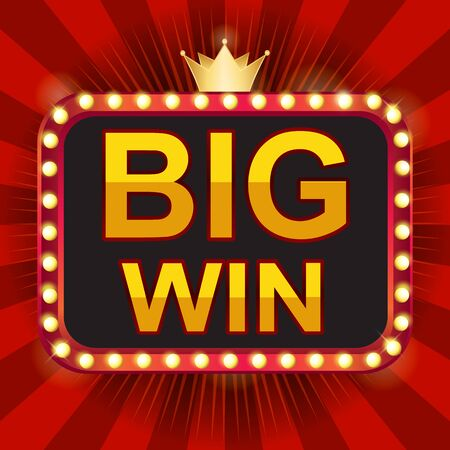 BIG WIN Retro-Banner. Neonbirne, Retro-Lichtrahmen. Vektorillustrationsdesign mit Poker Vektorgrafik