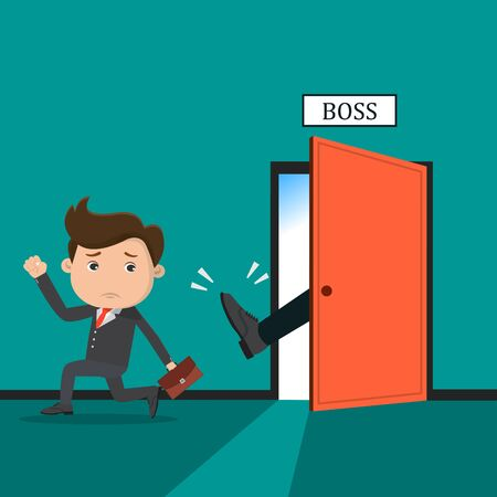 Boss dismisses employee.Manager throw a kick out of the bosss office.Vector illustration.  Ilustração