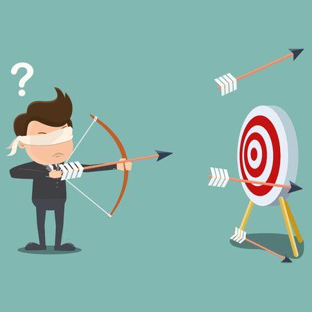 Blindfolded businessman shooting arrow , Business concept - vector illustration