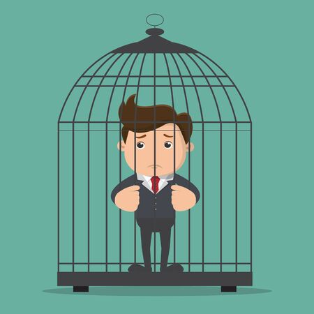 Businessman trapped in the large birdcage. Business concept. Vector illustration.