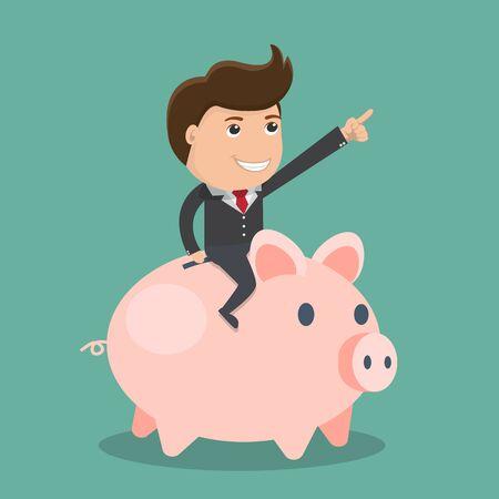 Businessman riding piggy bank.Vector illustration.  Ilustracja