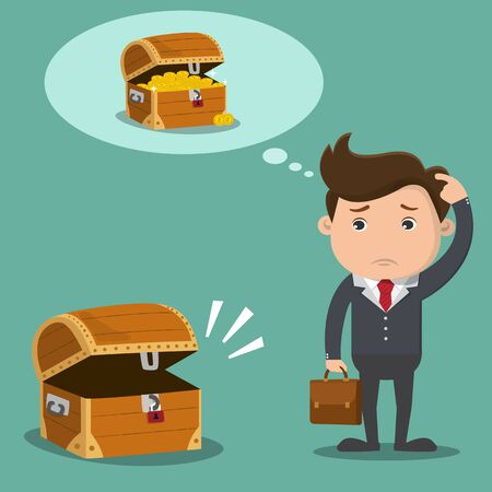 Business man is confused with empty treasure box. Business financial concept.Vector illustration.