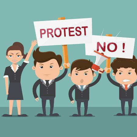 Business man and women protest - vector illustration