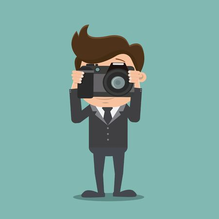 Business man photographing , Business man taking a photo - vector illustration Иллюстрация