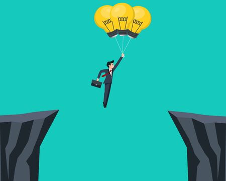 Businessman flying with light bulb and cross the mountain.Vector illustration. Vetores