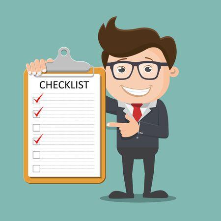 Geschäftsmann hält Zwischenablage und Checkliste - Vektorillustration Vektorgrafik