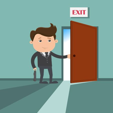 Businessman going to the exit - vector illustration