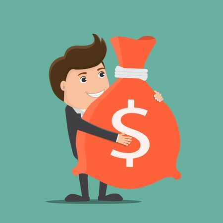Businessman holding a bag with money.Vector illustration.