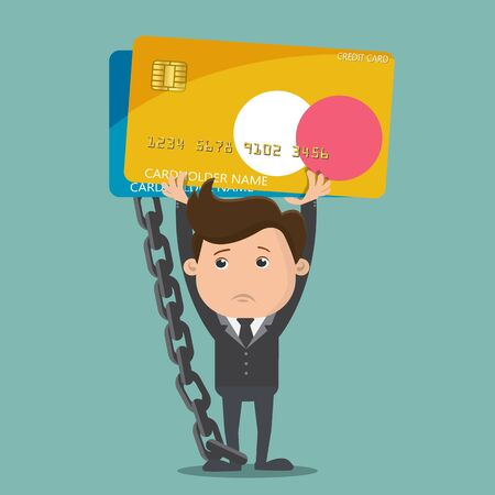 Businessman carrying debt credit card, Debt concept - vector illustration