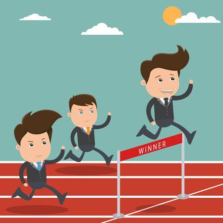 Business man winner, Businessman crossing finish line, Business concept  - vector illustration 일러스트