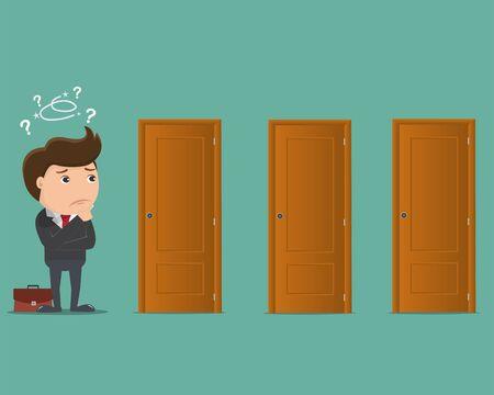 Business man choosing a door- Vector illustration