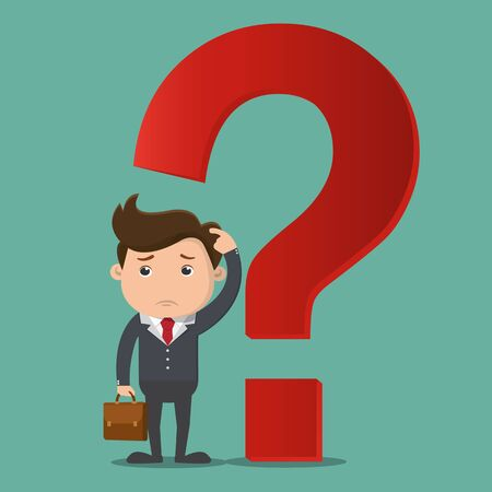 Businessman thinking with question mark.Vector illustration.