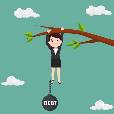 Business woman try hard to hold on the tree branch with debt burden. Business concept - vector illustration