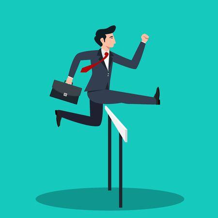 Hombre de negocios, saltar, en, el, obstacle., Negocio, puesta en marcha, concept., Vector, illustration.