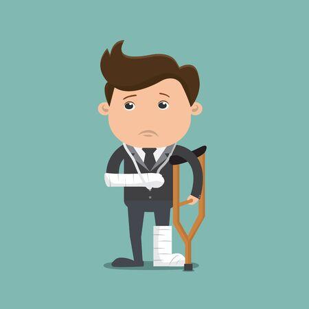 Homme d'affaires blessé, homme d'affaires avec des béquilles d'un blessé - illustration vectorielle