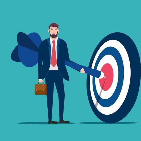 Successful businessman hold arrow in hand, businessman hanging arrow on target, business success concept vector illustration 일러스트