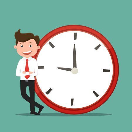 Business man standing near the clock.Businessmen occupy times.Vector illustration. Vectores