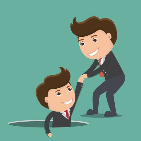 Businessman helping his friend by take him out from the hole. vector illustration.