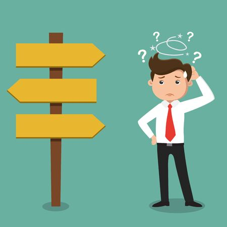 Confused, Businessman not know what to choose , vector illustration