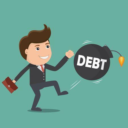 Businessman kick Debt bomb. Vector illustration.