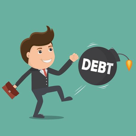 Businessman kick Debt bomb. Vector illustration.