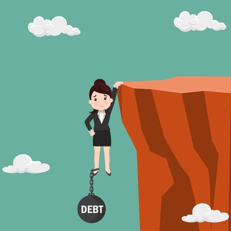 Business woman try hard to hold on the cliff with debt burden. Business concept - vector illustration
