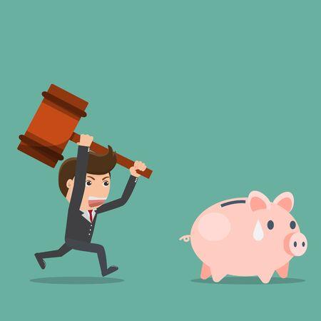 Businessman try to smashing piggy bank.Vector illustration.