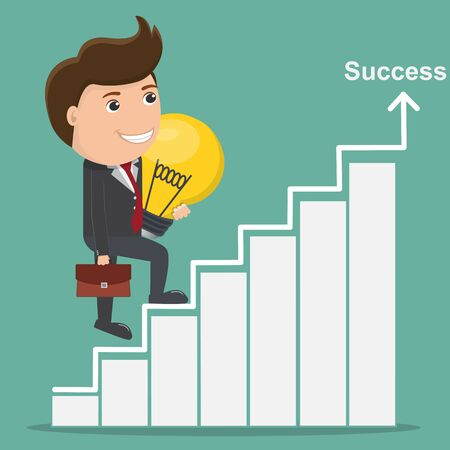 Businessman holding light bulb walks up stairs, Business Success concept - Vector illustration.