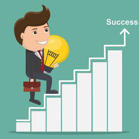 Businessman holding light bulb walks up stairs, Business Success concept - Vector illustration. Illustration