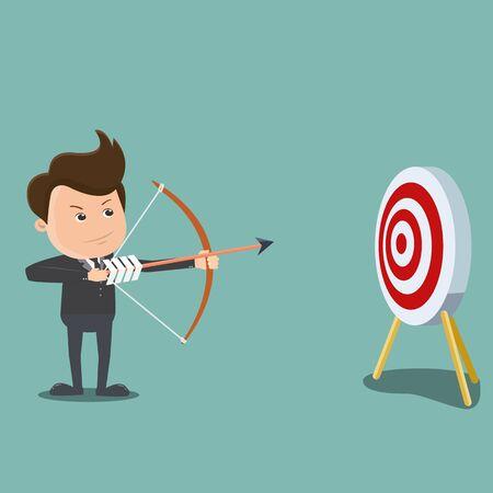 Flecha de tiro de empresario, concepto de negocio - ilustración vectorial