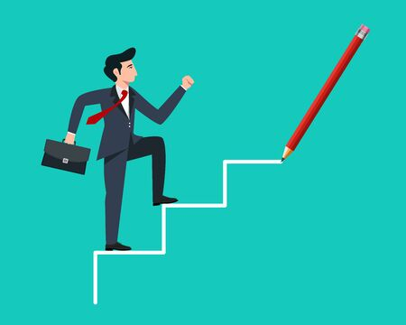 businessman walking on drawing stairs Business concept - vector illustration 일러스트