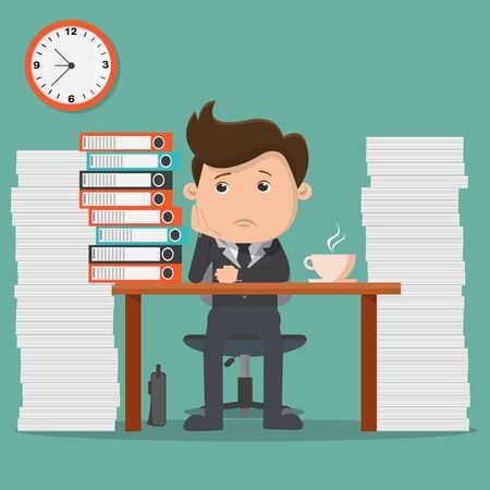 Business man with a lot of work - vector illustration