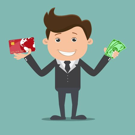 Businessman holding money and credit card - vector illustration