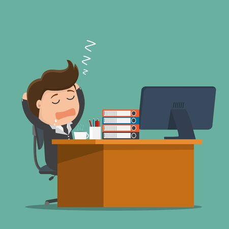 Businessman falls asleep at his desk. Vector illustration.
