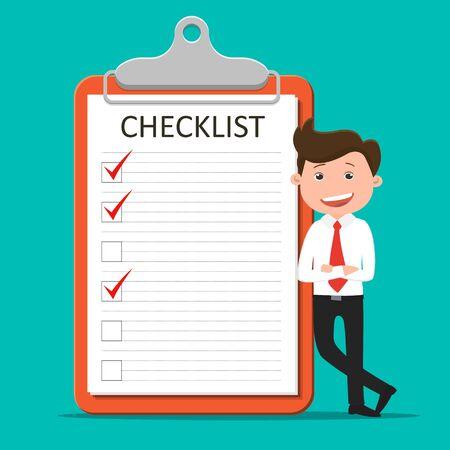 Businessman standing near checklist.Business Concept - Vector illustration.  Ilustração