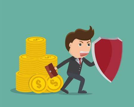 Businessman holding shield ,Protection money,Business concept - Vector illustration.