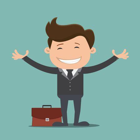Happy businessman. vector illustration