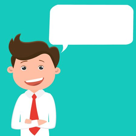 Business man with speech bubble.Vector illustration.
