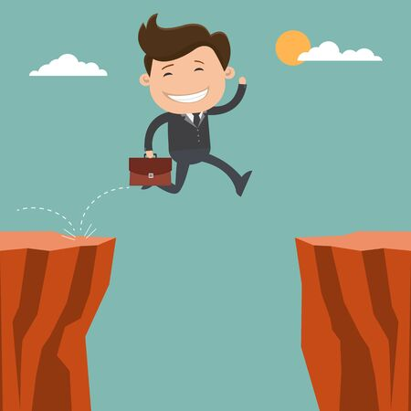 Businessman running jump through the gap on cliff - vector illustration Ilustração