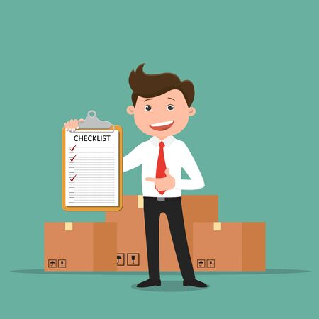Business man holding a clipboard, standing near the box.Vector illustration.